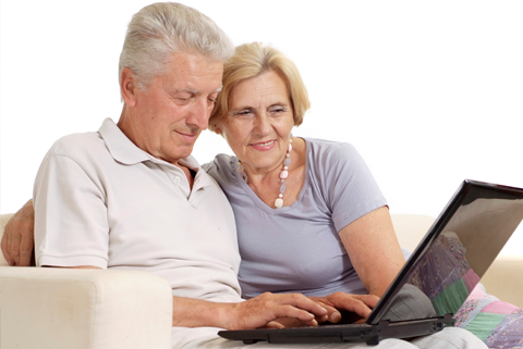Old couple looking for health tips